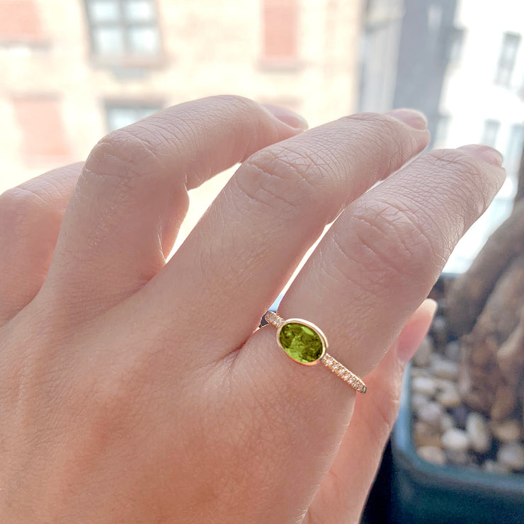 Peridot Faceted Oval Ring