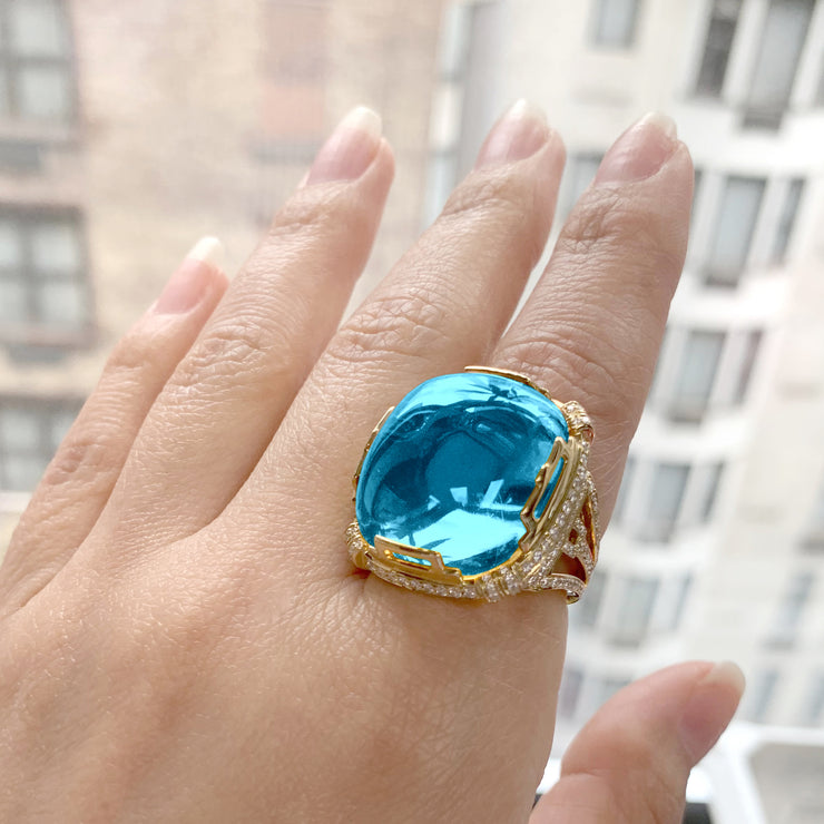 Blue Topaz Crown Ring