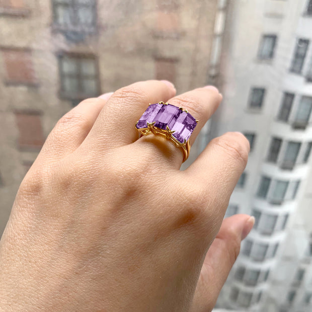 Amethyst 3 stone Emerald Cut Ring