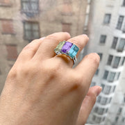 Multi Color 3 Stone Emerald Cut Ring