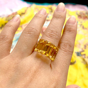 Citrine 3 Stone Emerald Cut Ring