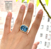 Blue Topaz East-West Cushion Cabochon Ring