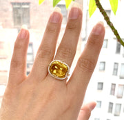 Citrine East-West Cushion Cabochon Ring