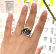 London Blue Topaz East-West Cushion Cabochon Ring