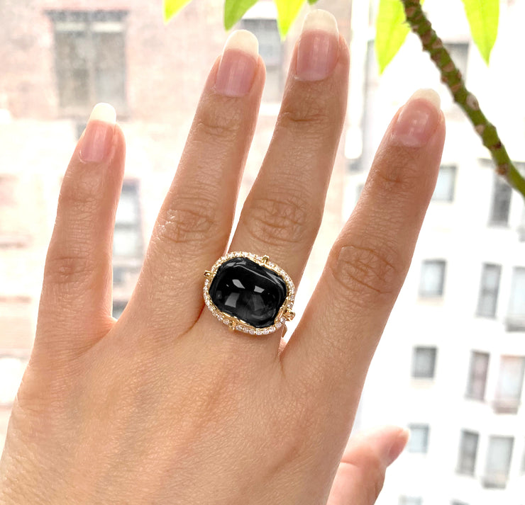 Onyx  East-West Cushion Cabochon Ring