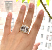 Rock Crystal East-West Cushion Cabochon Ring