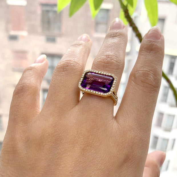 Amethyst East-West Emerald Cut Ring With Diamonds