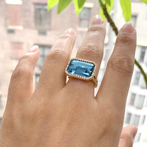 Blue Topaz East-West Emerald Cut Ring With Diamonds