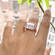 Rock Crystal East-West Emerald Cut Ring With Diamonds