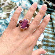 Lavender Amethyst 3 Stone Cushion Ring with Diamonds