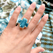 Blue Topaz 3 Stone Cushion Ring with Diamonds