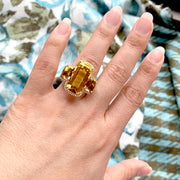 Citrine 3 Stone Cushion Ring with Diamonds