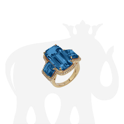 London Blue Topaz 3 Stone Cushion Ring with Diamonds