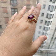 Amethyst Square Emerald Cut Ring with Diamonds