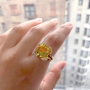 Citrine Square Emerald Cut Ring with Diamonds