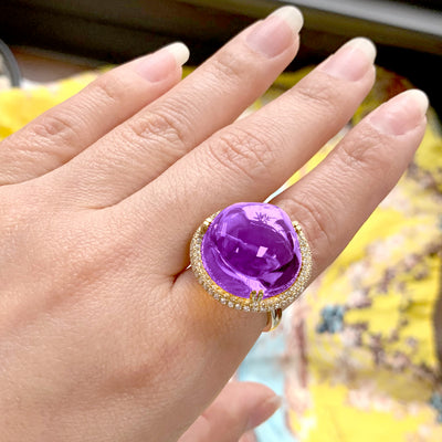 Amethyst Bubble Gum Ring with Diamonds