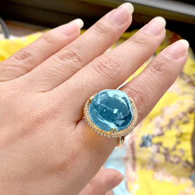 Blue Topaz Bubble Gum Ring with Diamonds