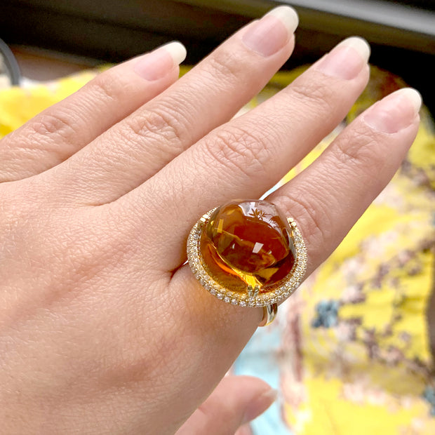 Citrine Bubble Gum Ring with Diamonds