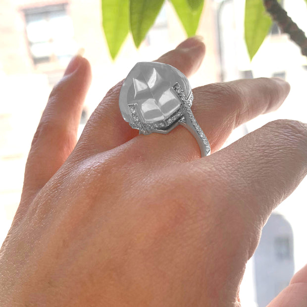 Moon Quartz Sugar Loaf Ring with Diamonds