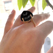 Onyx Sugar Loaf Ring with Diamonds