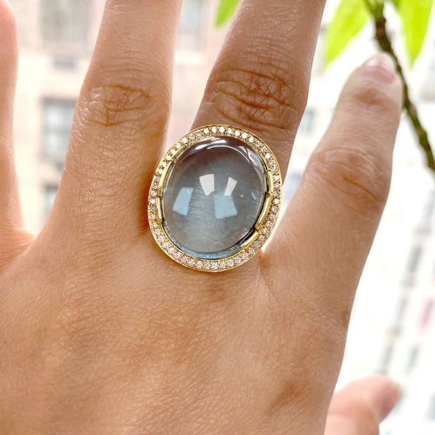 Blue Topaz Oval Cabochon Ring