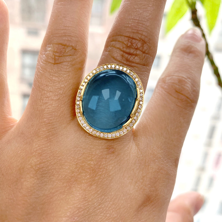 London Blue Topaz Oval Cabochon Ring