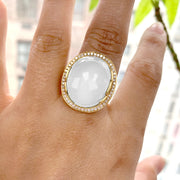 Moon Quartz Oval Cabochon Ring