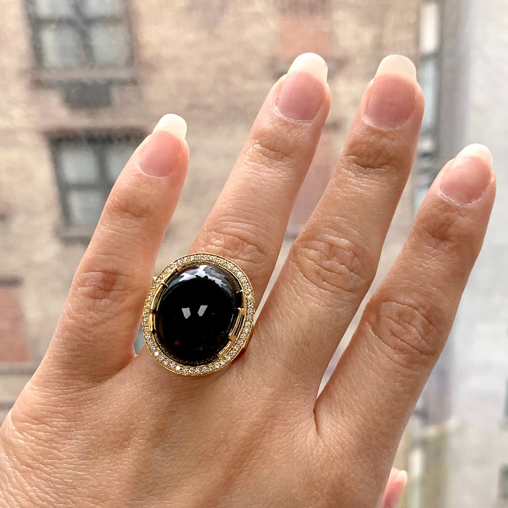 Onyx Oval Cabochon Ring