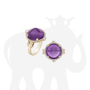 Amethyst Sugar Loaf Ring with Diamonds
