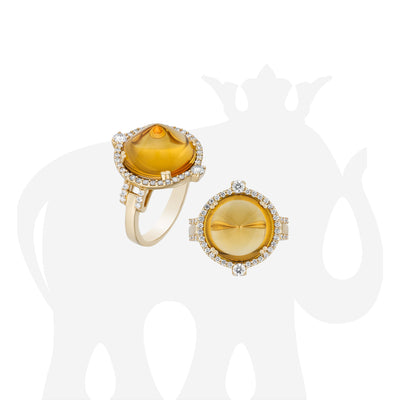Citrine Sugar Loaf Ring with Diamonds