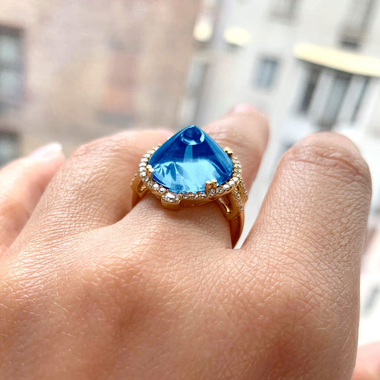 London Blue Topaz Sugar Loaf Ring with Diamonds