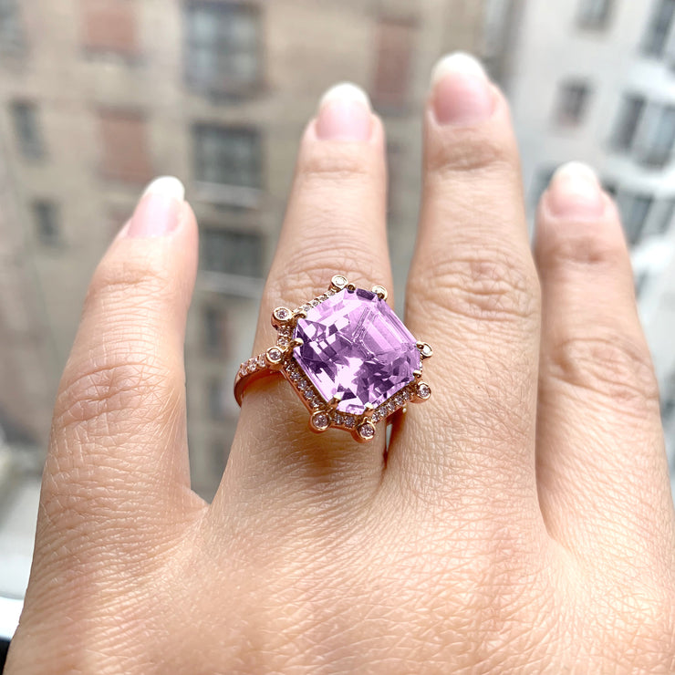 Lavender Amethyst Octagon Ring with Diamonds