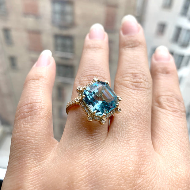 Blue Topaz Octagon Ring with Diamonds