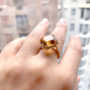 Citrine Octagon Ring with Diamonds