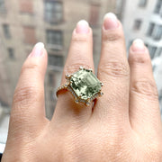 Prasiolite Octagon Ring with Diamonds