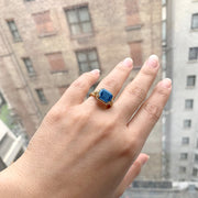 London Blue Topaz  Small East-West Emerald Cut Ring