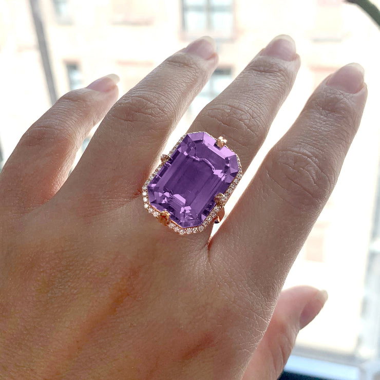 Amethyst Emerald Cut Ring with Diamonds