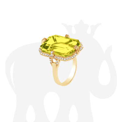 Lemon Quartz Emerald Cut Ring with Diamonds