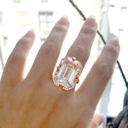 Rock Crystal Emerald Cut Ring with Diamonds