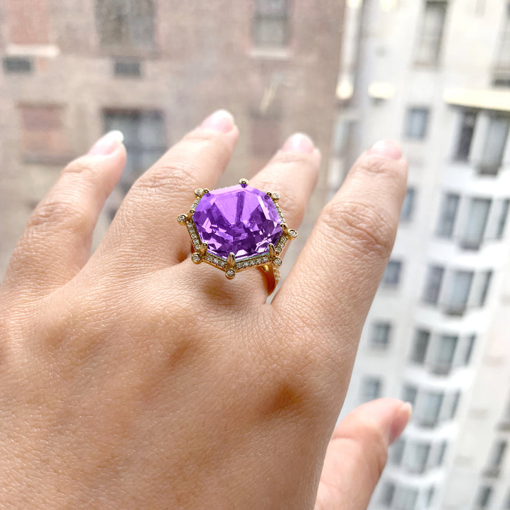 Amethyst & Diamond Large Octagon Ring