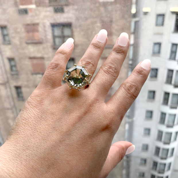 Prasiolite & Diamond Large Octagon Ring