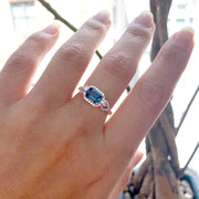 London Blue Topaz  Small Emerald Cut Ring with Diamonds