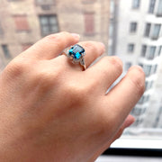 London Blue Topaz Emerald Cut Ring with Diamonds