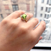 Peridot Emerald Cut Ring with Diamonds