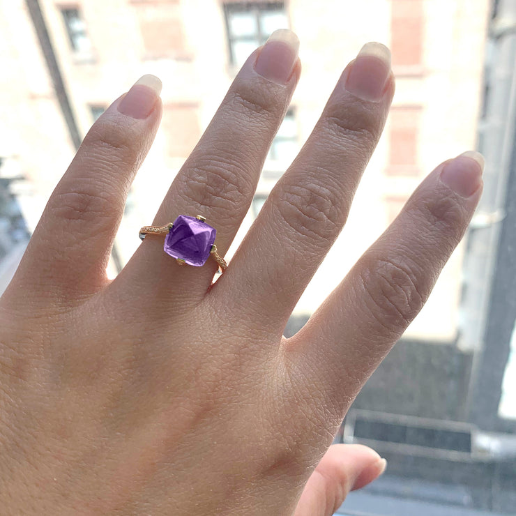 Amethyst Ring with Diamonds