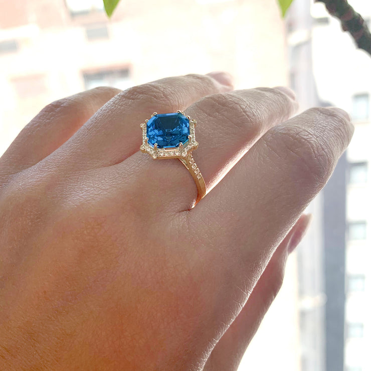 London Blue Topaz Octagon Ring with Diamonds