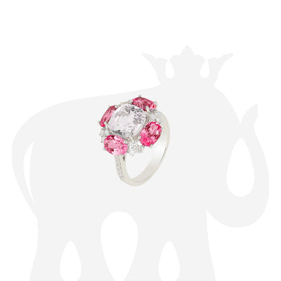 Rock Crystal And Faceted Ovals Rubellite Ring with Diamonds