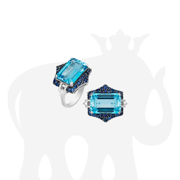 Blue Topaz Emerald Cut Ring with Sapphire
