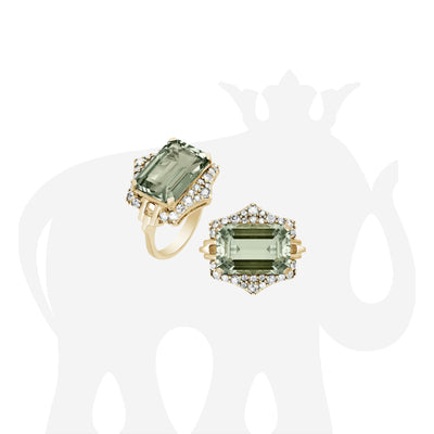 Prasiolite Ring with Diamonds