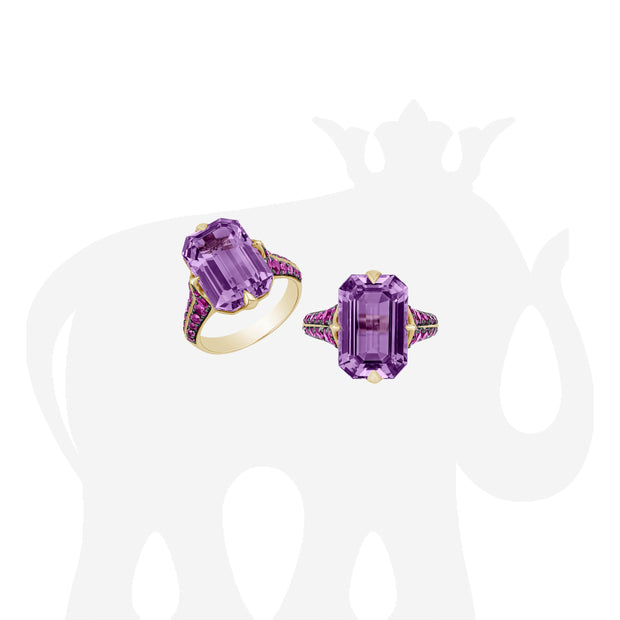 Amethyst Emerald Cut Ring with Pink Sapphire